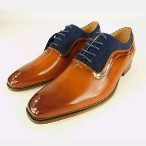 GINO VITALE MEN BROWN & NAVY SIZE 11 OXFORD SHOES